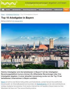 etventure auf Platz 5 der Top 10 Arbeitgeber in Bayern