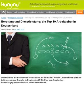 etventure auf Platz 4 der Top 10 Arbeitgeber der Branche Beratung & Dienstleistung in Deutschland