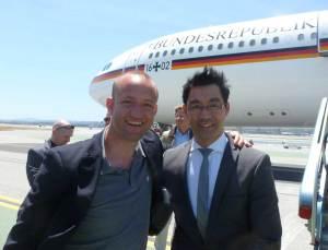"""Kurz vor dem Boarding der Deutschen """"Air Force One"""" – Auf nach Silicon Valley!"""