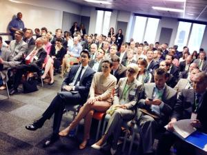 Sheryl Sandberg kurz vor Ihrer Ansprache vor der Delegation