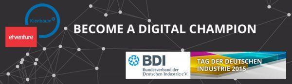 """Unter dem Motto """"Become a digital Champion"""" geben Fabian Kienbaum, Geschäftsführender Gesellschafter von Kienbaum und Philipp Depiereux, Gründer & Geschäftsführer von etventure essentielle Einblicke, wie die Digitalisierung im Unternehmen umgesetzt werden kann."""