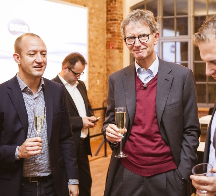 Phillip Herrmann, Dr. Erdland und Phillip Depiereux auf der Eröffnungsfeier der W&W Digital in Berlin