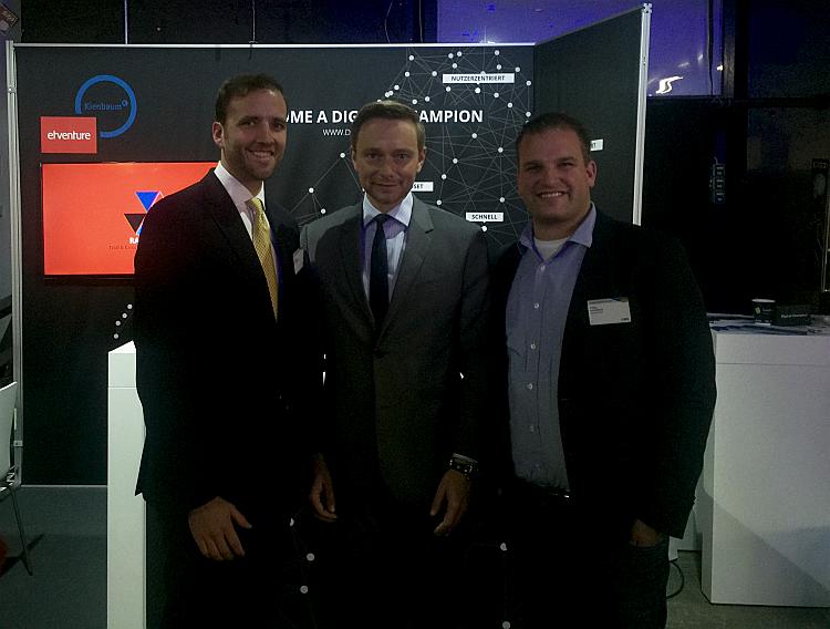 Fabian Kienbaum, Christian Lindner, Bundesvorsitzender der FDP und Philipp Depiereux (v.l.) auf dem TDI