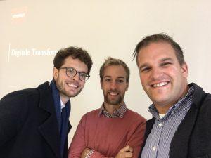 guest lecturer Raffael Schmidt (left), Matthias Potthast (middle) and etventure founder Philipp Depiereux